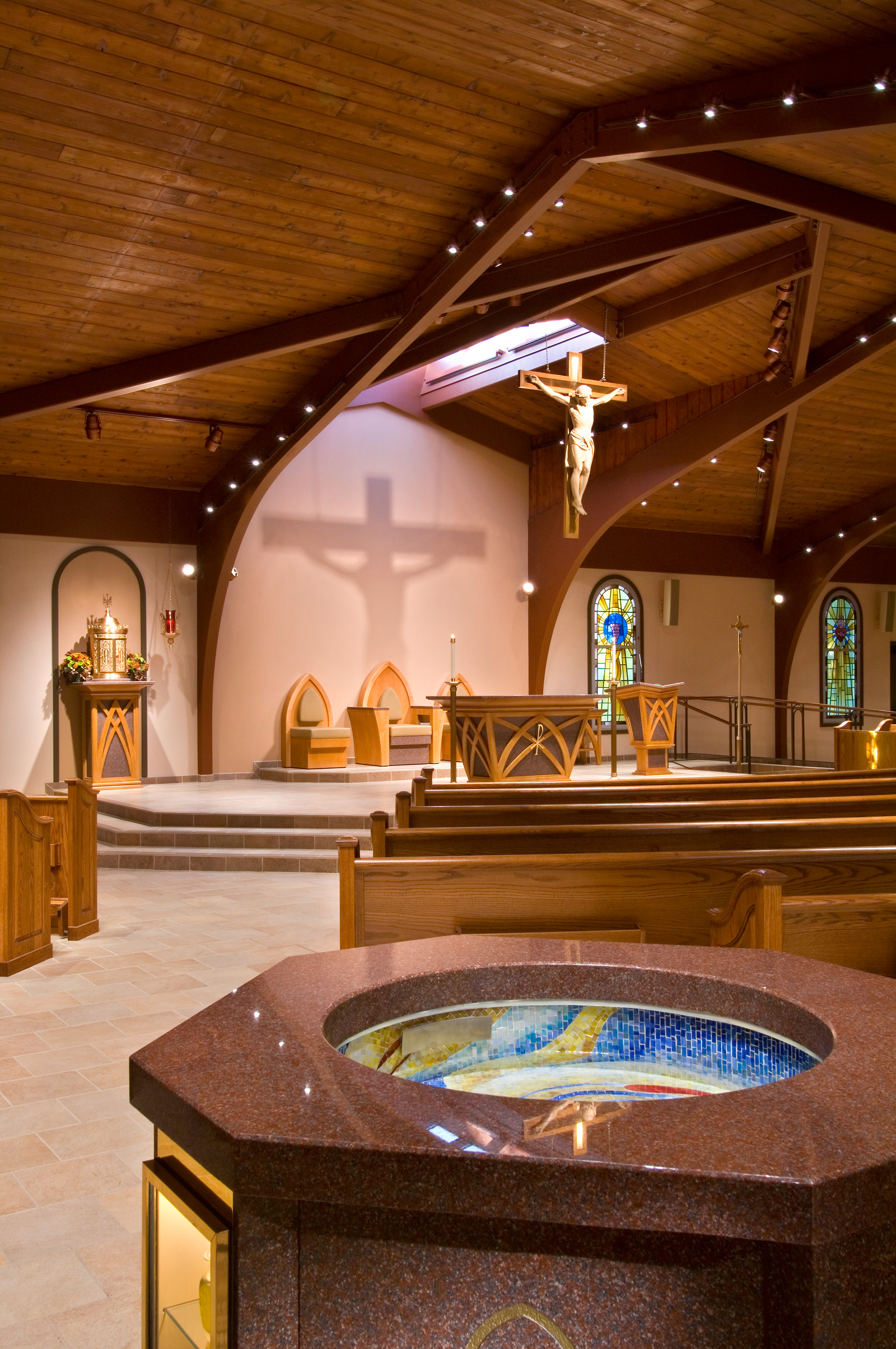 new skylight over altar and new liturgical furnishings
