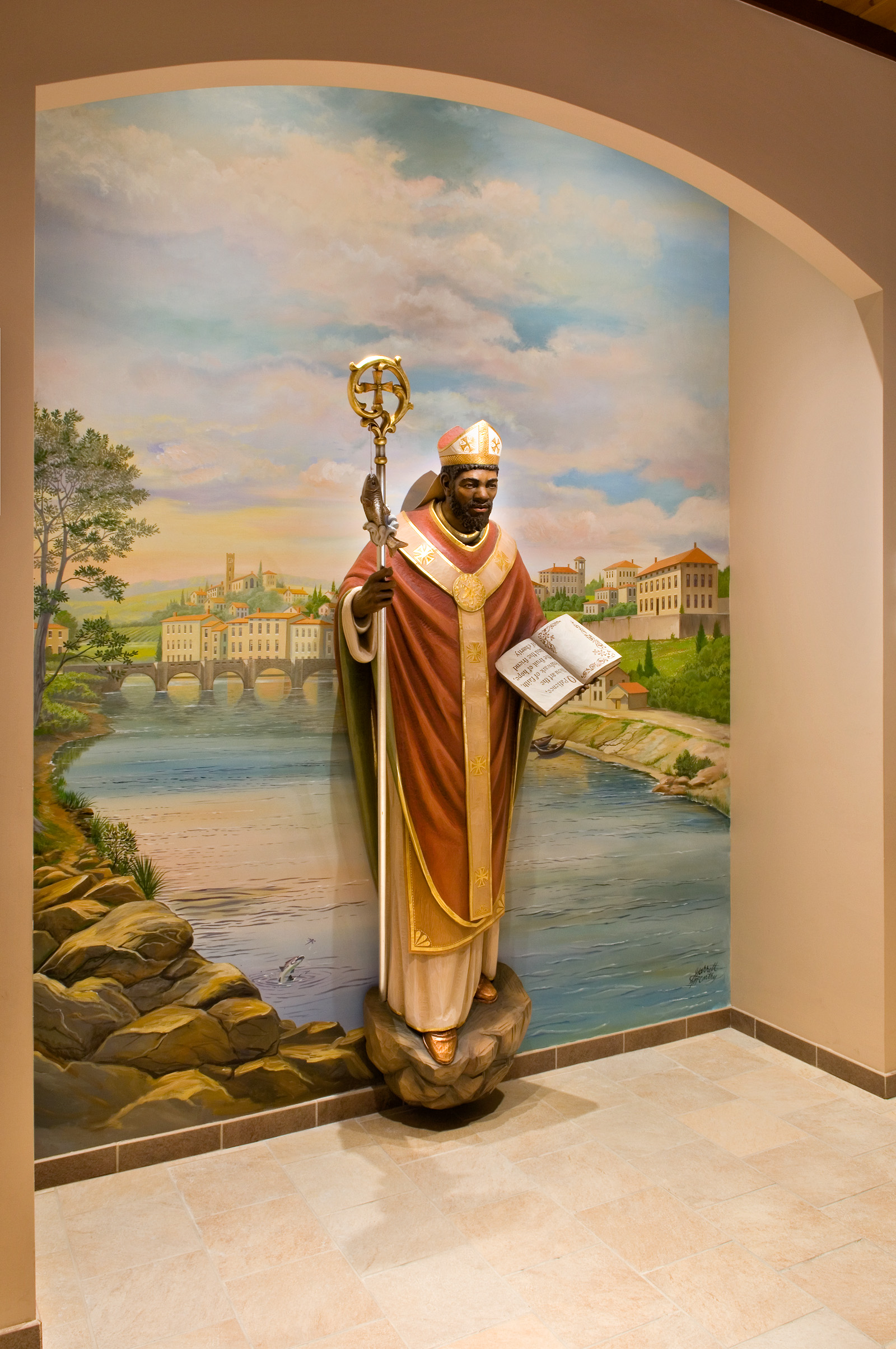 New custom statue & backdrop of St. Zeno of Verona by Artsphere Consulting, LLC
