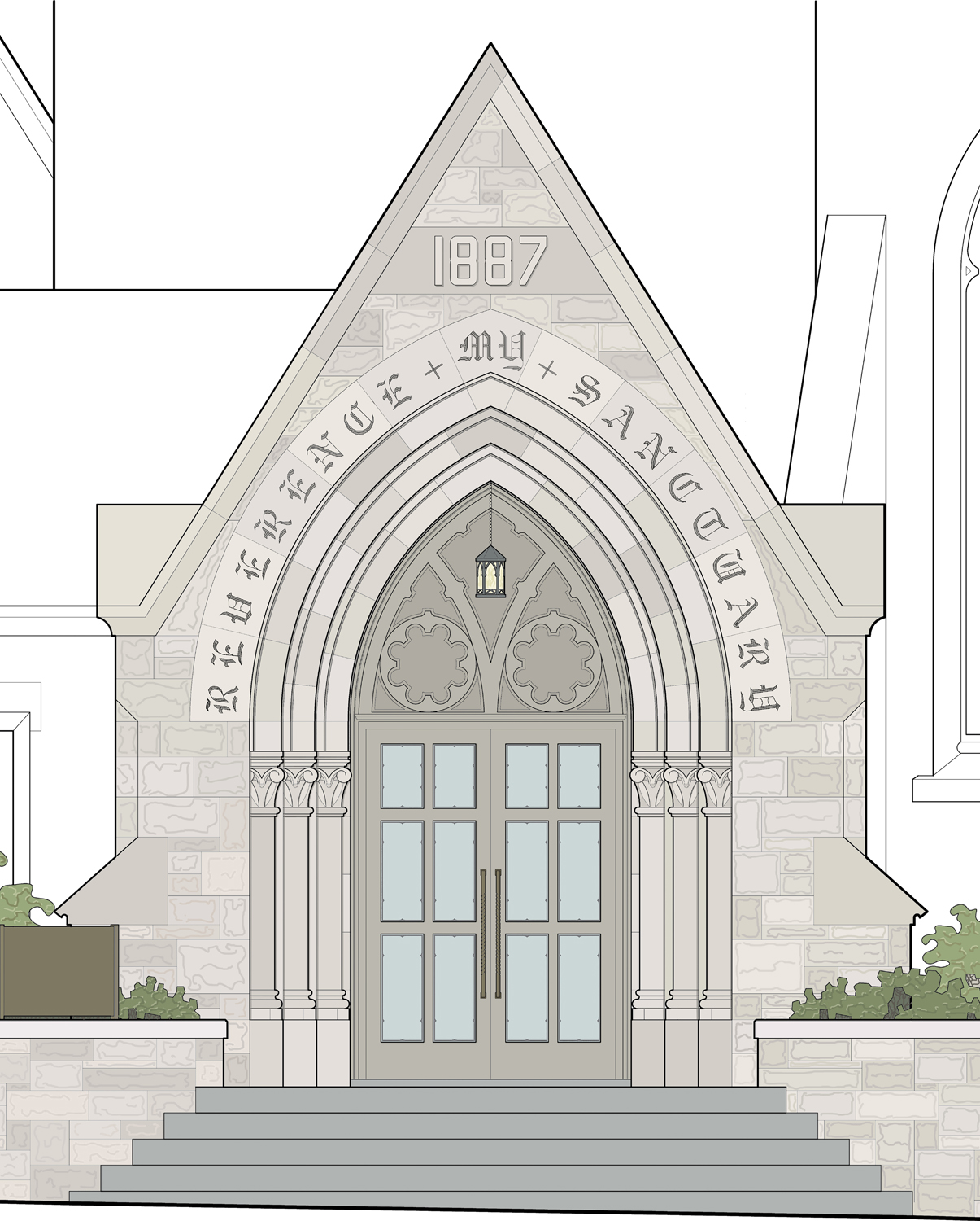 proposed church entrance design