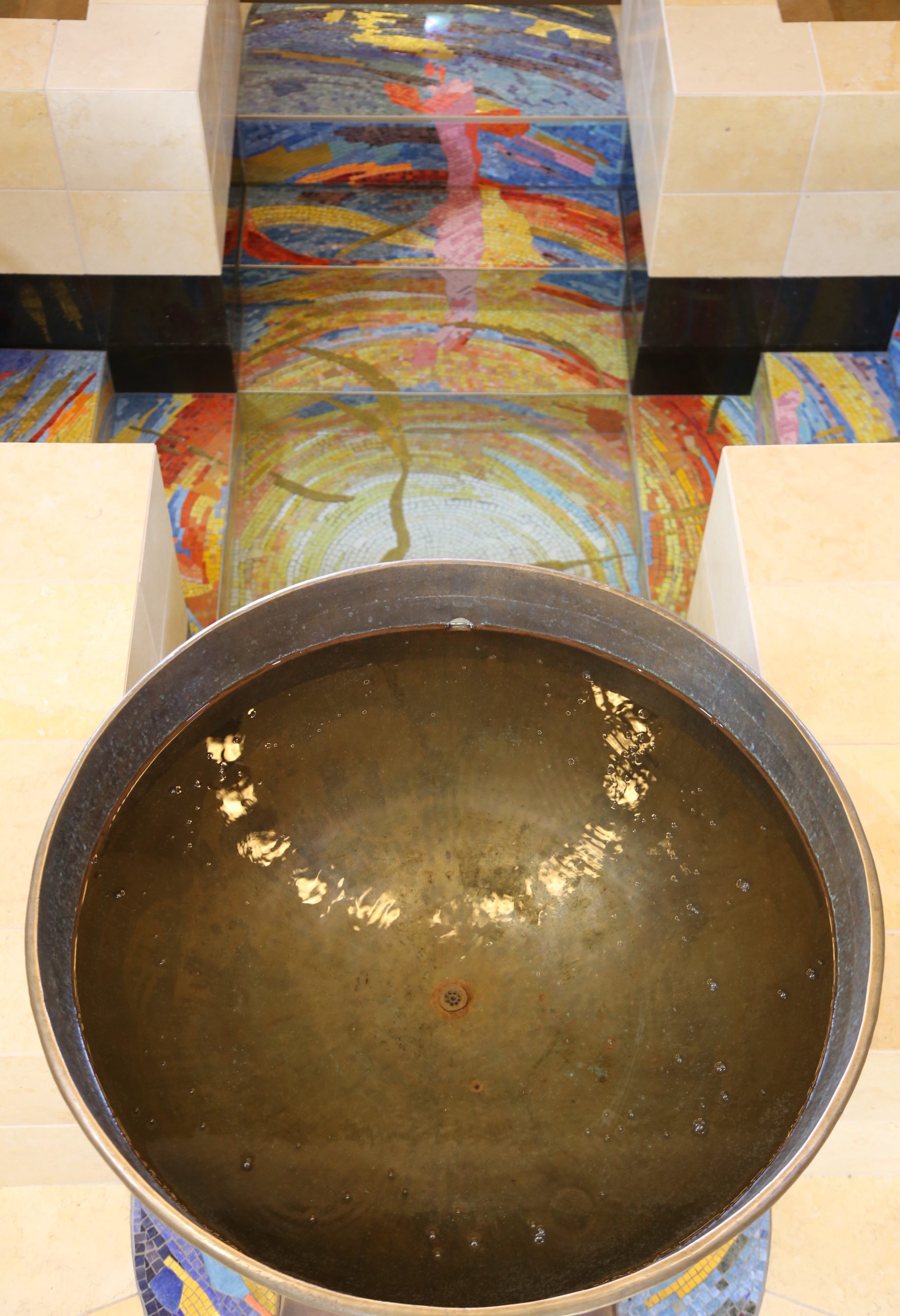 Genesis Mosaic Font. Bronze font bowl and pedestal by Wanner Sculpture Studios.