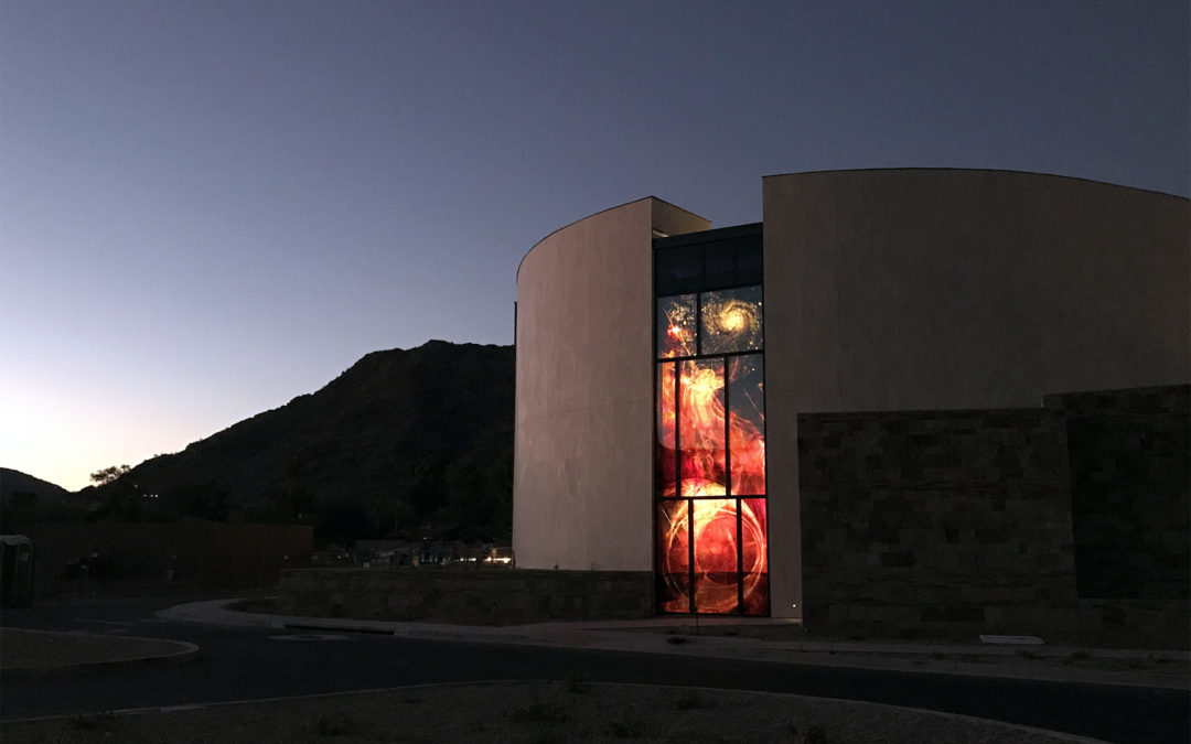 church exterior at dusk