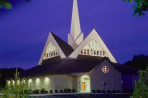 church exterior at twilight