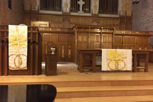 church altar with paraments