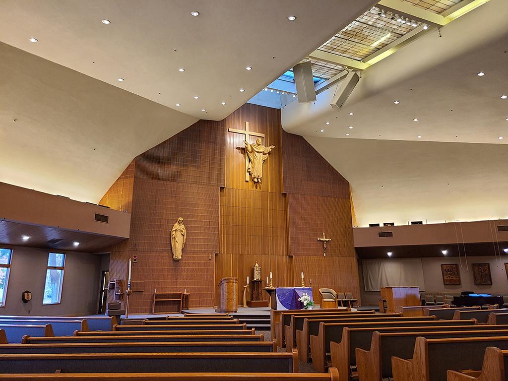 Altar area with skylights
